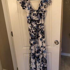 Eliza J Blue Floral Floor Length Size 6